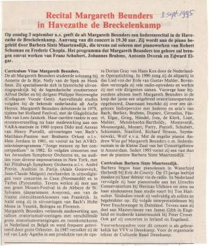 Recital Margareth Beunders in Havezathe de Breckelenkamp