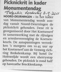 Picknickrit in kader monumentendag